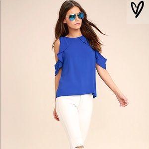 Lulus Royal Blue details sleeve top Size M
